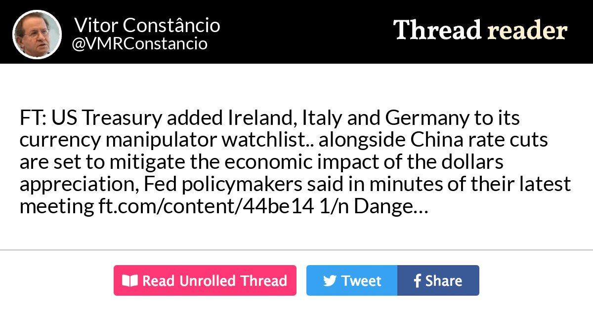 "Thread by @VMRConstancio: ""FT: "" US Treasury added Ireland ..."