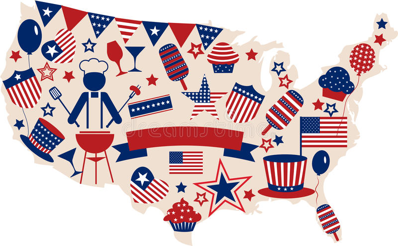 USA Vector Icons For American Independence Day Royalty ...