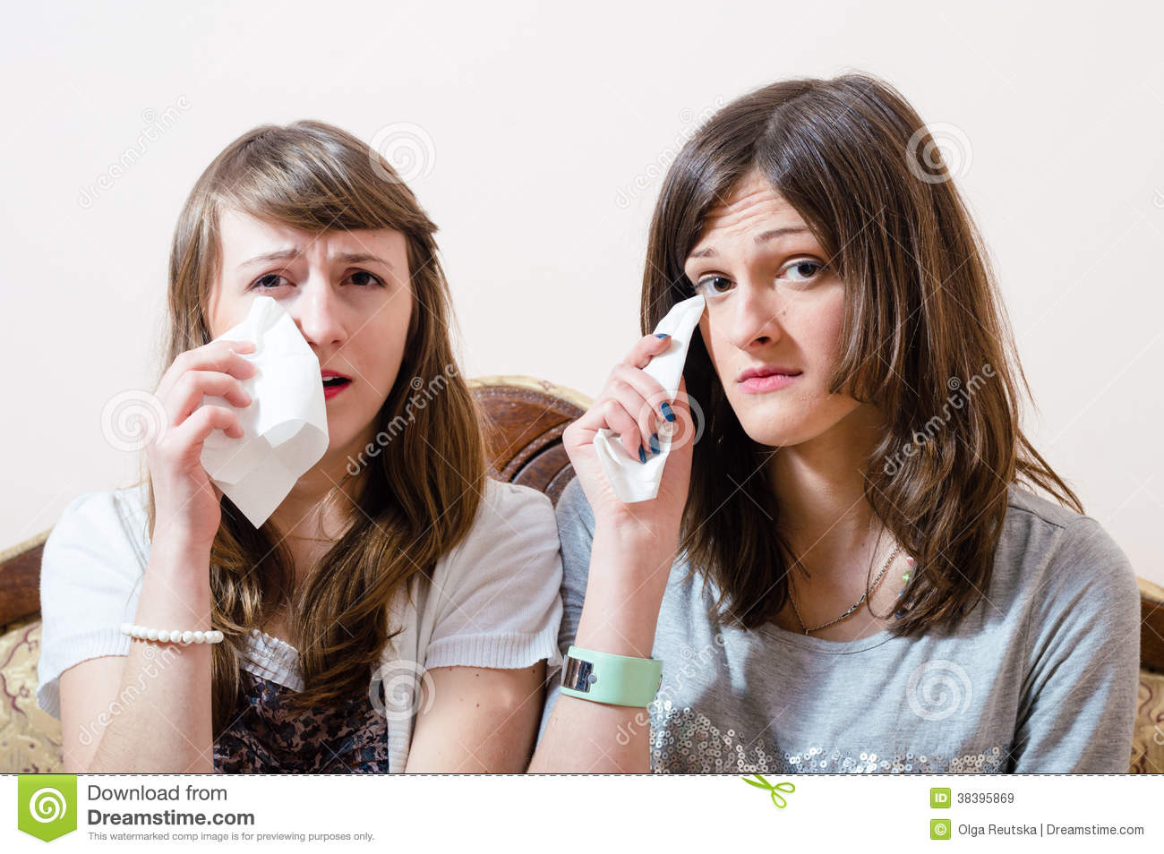 Two Pretty Girl Friends Crying Portrait Royalty Free Stock ...
