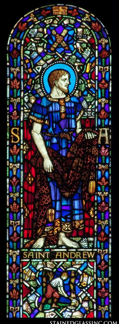 """Saint Andrew"" Religious Stained Glass Window"