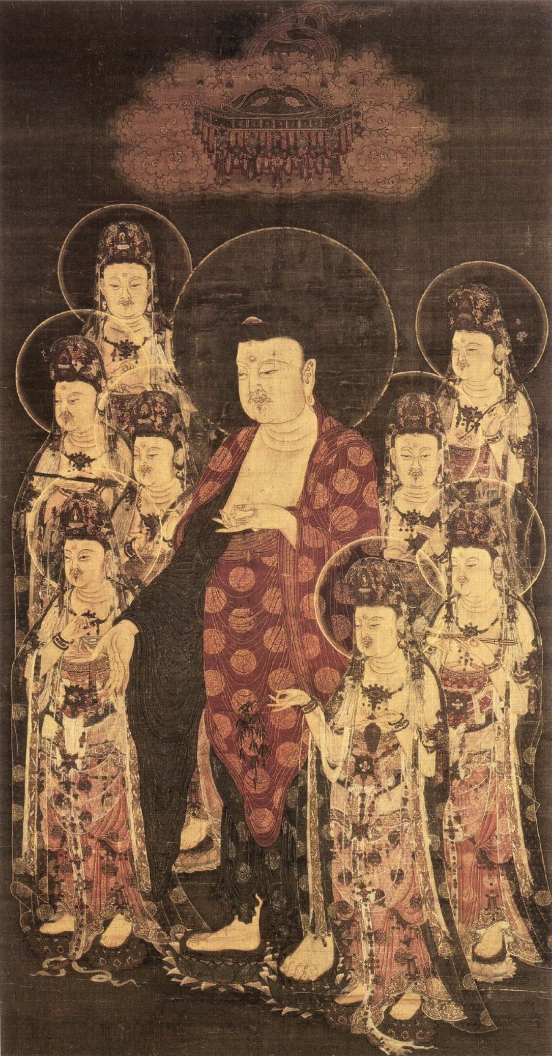 File:Amitabha with Eight Great Bodhisattvas (Jokyoji Kyoto ...