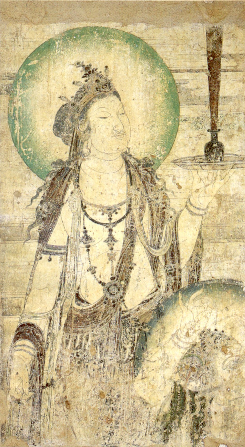 File:Chinese mural of a bodhisattva, ink and color on ...