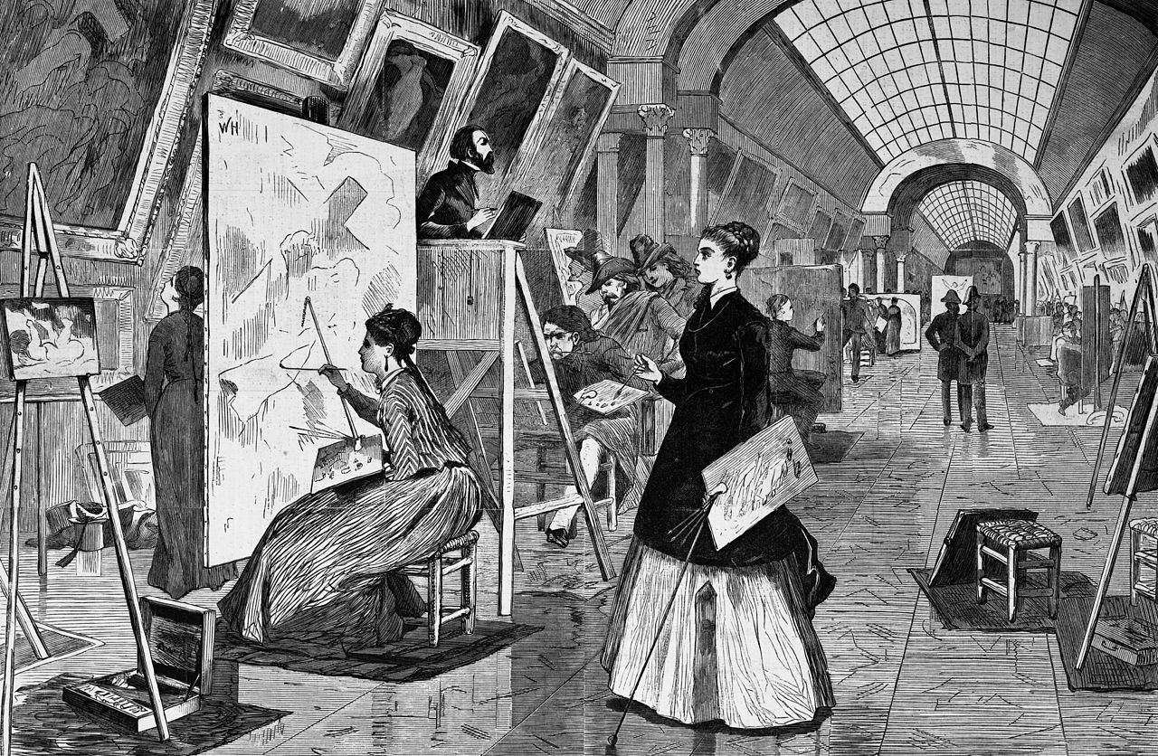 File:Art-students and copyists in the Louvre gallery ...