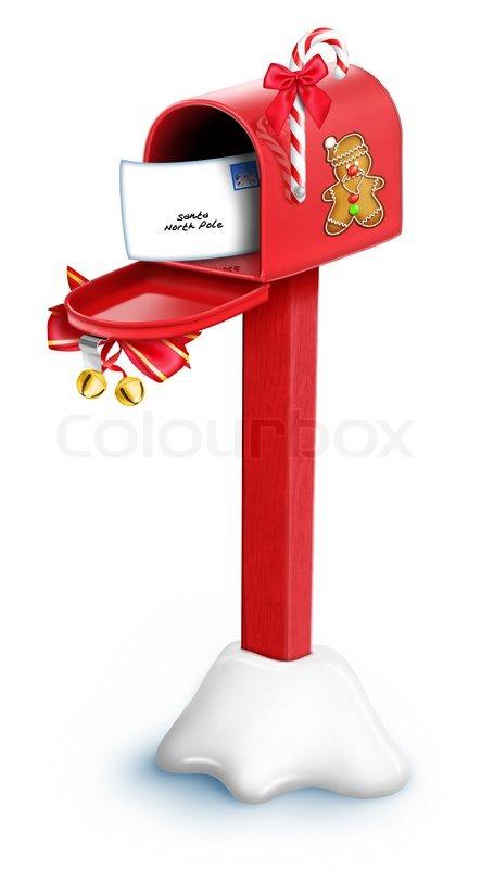 Cartoon Christmas Mailbox with Post | Stock Photo | Colourbox