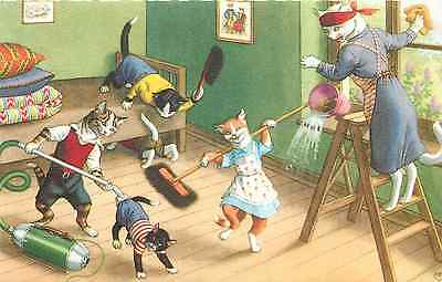"MAINZER ANTHROPOMORPHIC CATS ""chaos In The Kitchen"" #4853 ..."